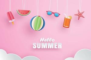 Hello summer with decoration origami hanging on pink background vector
