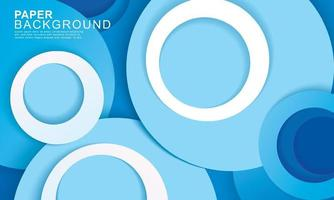 Paper layer circle blue abstract background vector