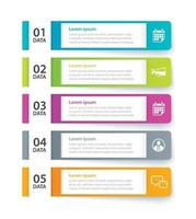 Infographics tab in horizontal paper index with 5 data template set vector