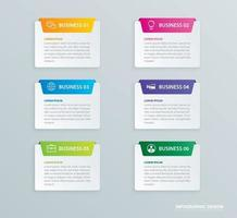 Infographics tab paper index with 6 data template set vector
