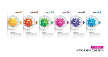 Infographics timeline circle paper with 6 data template vector