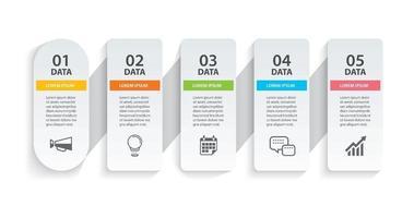 Papel de línea de tiempo de infografías ovaladas con plantilla horizontal de 5 datos vector