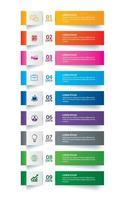 Infographics tab paper index with 9 data template set vector