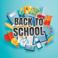 Back to school banner with education items and text in paper art style. vector