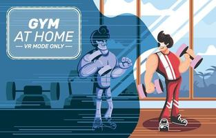 Man doing Gym at Home Concept vector