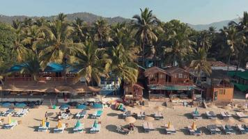Palolem Beach resort shacks and resting chairs near the coastline in exotic setting video