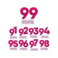 Ilustración de diseño de plantilla de vector de número de celebración de aniversario de 99 años
