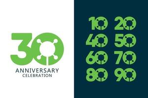 30 Years Anniversary Celebration Green Logo Vector Template Design Illustration