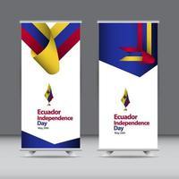 feliz día de la independencia de ecuador celebración vector plantilla diseño ilustración