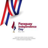 Feliz celebración del día de la independencia de Paraguay diseño creativo ilustración de diseño de plantilla de vector