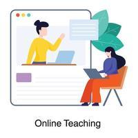 Online Teaching Website Concept vector