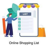 concepto de lista de compras en línea vector