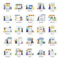 conjunto de concepto de comercio electrónico y compras. vector