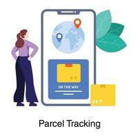 Online Parcel Tracking Concept vector