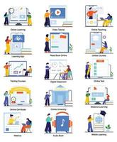 E-Learning and Virtual Education Concept Set vector