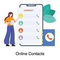 concepto de lista de contactos en línea vector