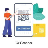 concepto digital de pantalla de escaneo qr vector