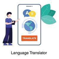 concepto de aplicación de traducción de idiomas vector