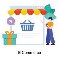 sitio web de comercio electrónico o concepto de tienda en línea vector