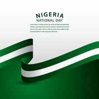 Feliz celebración del día nacional de Nigeria ilustración de diseño de plantilla de vector