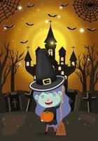 halloween season scene with girl in a witch costume vector