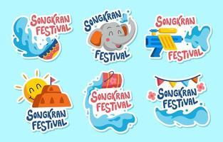 Songkran Festival Sticker Collection vector