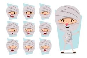 little boy in a mummy costume set vector