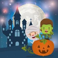 halloween card with kids in costumes for trick or treat vector