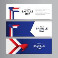 Happy Bastille Day Celebration Vector Template Design Illustration