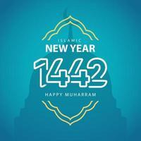 Happy Islamic New Year 1442 Celebration Vector Logo Icon Template Design Illustration