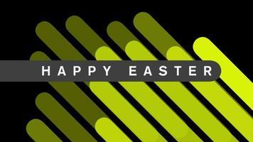 texte d'animation joyeuses pâques sur fond de mode et de minimalisme noir avec des rayures géométriques jaunes video