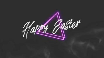 texto de animación feliz pascua en el fondo de moda y club con triángulos brillantes video