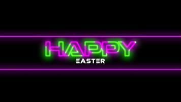 texto de animación feliz pascua en el fondo de moda y club con líneas brillantes video