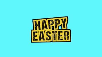 texto de animação feliz páscoa em hipster azul e fundo grunge com ruído video