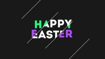 Animationstext glückliches Ostern auf schwarzem Mode- und Minimalismushintergrund mit weißen Linien video