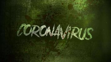 animiertes Nahaufnahme-Text-Coronavirus und mystischer Horrorhintergrund mit dunklem Blut und Bewegungskamera
