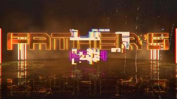texte d'animation fête des pères et fond d'animation cyberpunk avec néons sur le mur de la ville