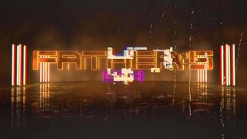 Animation text Fathers day and cyberpunk animation background with neon lights on wall of city video