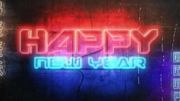 texto de animação feliz ano novo e fundo de animação cyberpunk com luzes de néon na parede da cidade video