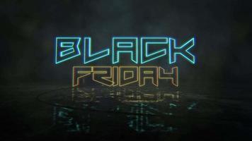animação intro text black friday e cyberpunk animação fundo com luzes de néon video