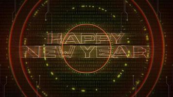 texto de introdução de animação feliz ano novo e fundo de animação cyberpunk com matriz de computador, números e círculos video