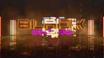 texte d & # 39; introduction d & # 39; animation vendredi noir et fond d & # 39; animation cyberpunk avec néons