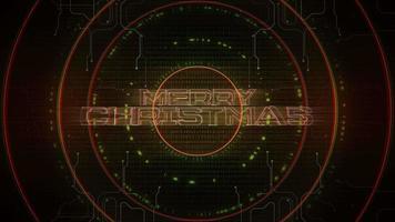 animação texto de introdução feliz natal e fundo de animação cyberpunk com matriz de computador, números e círculos video