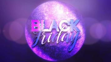 Animación texto de introducción viernes negro y movimiento bola de discoteca colorida, fondo abstracto video