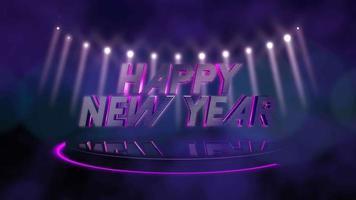 animatie intro tekst gelukkig nieuwjaar en beweging kleurrijke balken licht op het podium, abstracte vakantie achtergrond video