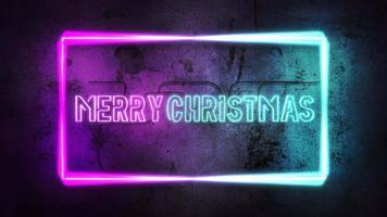animatietekst vrolijk kerstfeest en neonlichten op de muur, abstracte vakantieachtergrond video