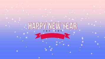 animierte Nahaufnahme Frohes Neues Jahr Text und fliegen weiße Schneeflocken auf schneeblauen Farbverlauf Hintergrund