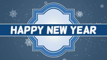 animierte Nahaufnahme Frohes Neues Jahr Text und fliegen weiße Schneeflocken auf Schnee blau Gradienten Hintergrund
