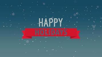 geanimeerde tekst van de close-up gelukkige vakantie en vlieg witte sneeuwvlokken op sneeuw zwarte achtergrond video