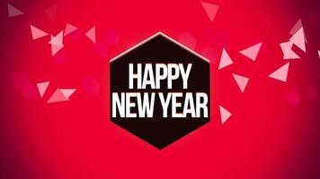 animierte Nahaufnahme Frohes Neues Jahr Text und geometrische Dreiecke auf Schnee Hintergrund